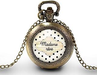 """Collana orologio da taschino - orologio da tasca, cabochon nuvola""""madame rêve"""" - Regalo di Natale per idea regalo moglie -..."""