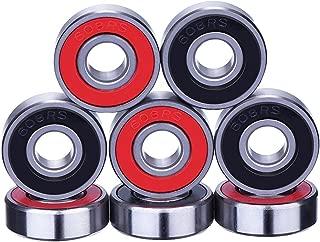 8 Piezas de Rodamientos Rodamientos de Skate Cojinetes de Patines de Rueda y Longboard 608 2RS, Doble Blindado, Rojo y Negro