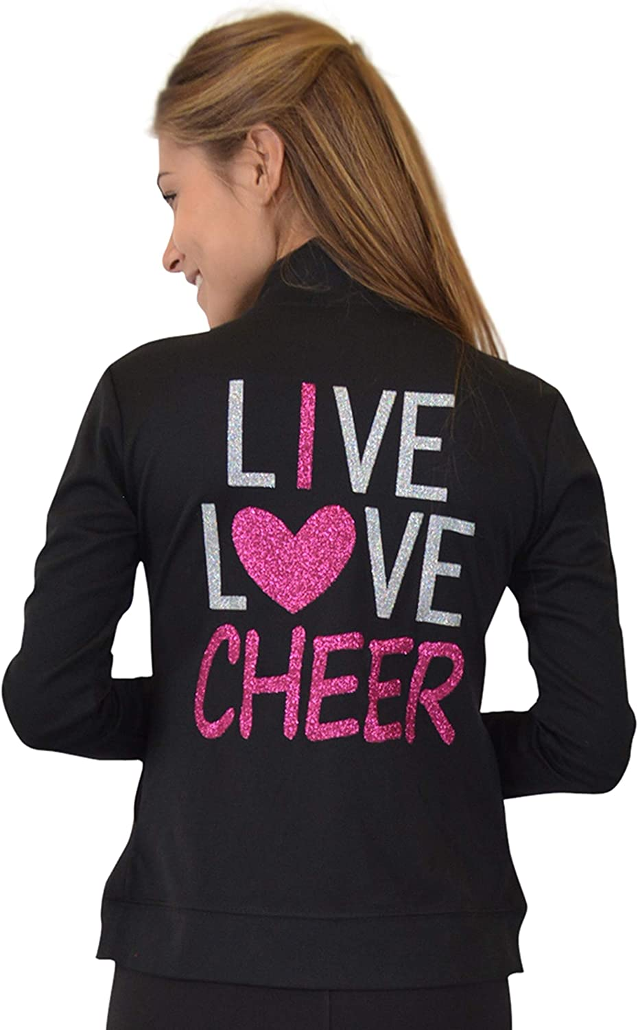 Stretch is Comfort Girls and Womens Live Love Cheer Warm Up Black Jacket