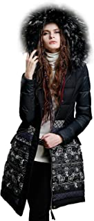 Women's Vintage Printed Long Down Parka Coats with Raccoon Fur Collar Hood Warm Winter Outwear Dark Blue