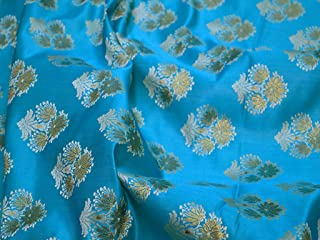 Indian Blue Varanasi Brocade Fabric by The Yard Banaras Brocade Wedding Dress Fabric Sewing Fabric Brocade