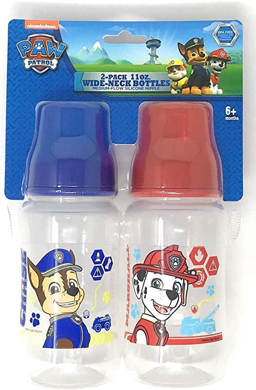 Regent Paw Patrol 11 Oz Baby Bottles 2 Pack For Baby Infant Toddler Wide Neck With Medium Flow Silicone Nipple And Cover Boys Chase Marshall