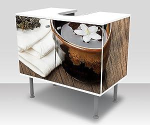 wandmotiv24 Badunterschrank Una Taza de té en tablón de Madera Diseño baño Armario M0972 Frente y Lados pegando gabinete de la vanidad