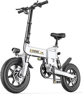 lll 大人用折りたたみ式電動自転車、250Wコミューター電動自転車、14インチダブルディスクブレーキアドバンスト電動自転車、3つのライディングモード(白黒) lll