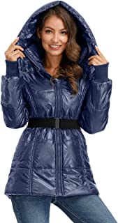 Women's Hooded Warm Down Jacket Puffer Coats with Removable Belt
