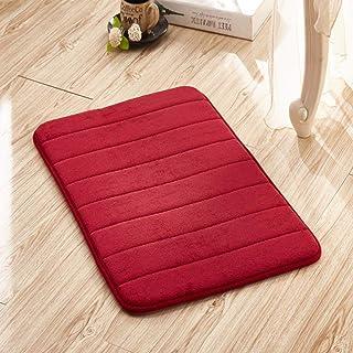 Memory Foam Absorbent Non Slip Bath Mat,soft Cotton Extra Long Coral Velvet Slow Rebound Carpet Bathroom Kitchen-red Wine ...