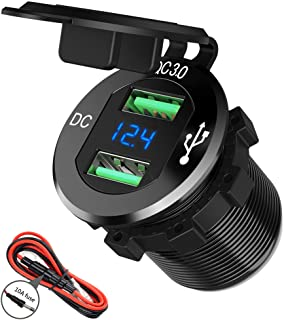 24V / 12V USB Outlet, SunnyTrip 36W Aluminum Waterproof Dual Fast Quick Charge 3.0 USB Car Charger Socket Power Adapter LE...