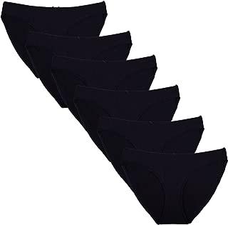 Women's Cotton Low Rise Bikini Underwear 6 Pack Black Multi-Color XS/2XL