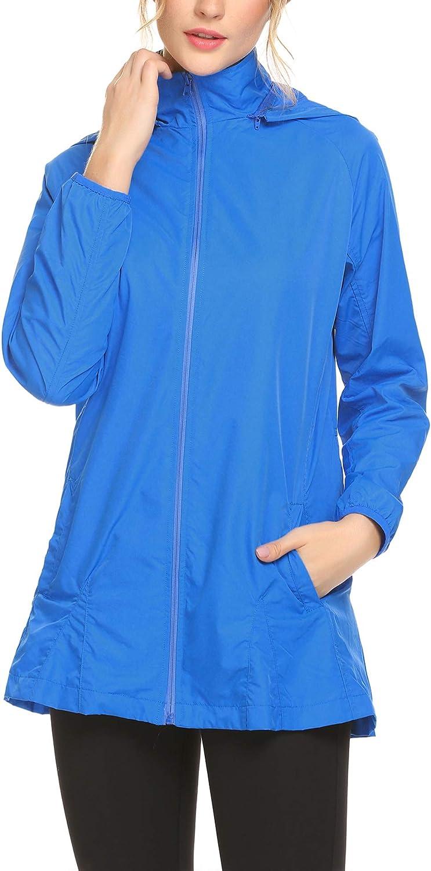 Women's Waterproof Rain Jacket Outdoor Windbreaker Jacket Sports Coat SXXL (bluee, Medium)