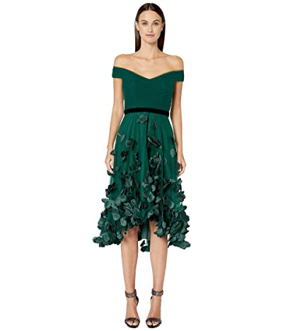 Marchesa Notte Off-the-Shoulder Hi-Lo Cocktail Dress w/ 3D Flower Degrade and Draped Bodice (Emerald) Women