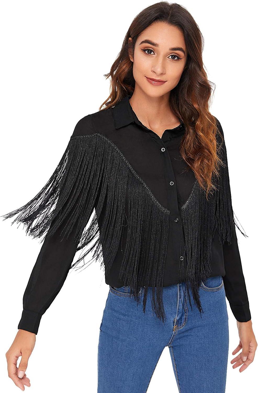 Verdusa Women's Fringe Trim Long Sleeve Button Up Blouse Shirt Top