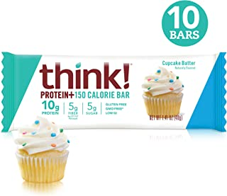 think! (thinkThin) Protein+ 150 Calorie Bars - Cupcake Batter, 10g Protein, 5g Sugar, No Artificial Sweeteners, Gluten Free, GMO Free, 1.4 oz bar (10 Count - packaging may vary)