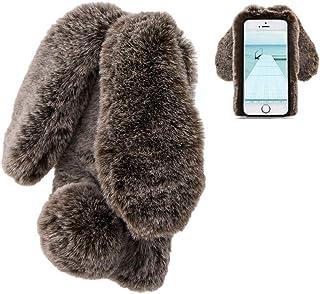 Konijn Hoes voor iPhone 6/6S, LCHDA Pluizig Schattige Kunstmatig konijnenbont Haar Leuk Lange Oren Pluche Zacht Harig Warm...