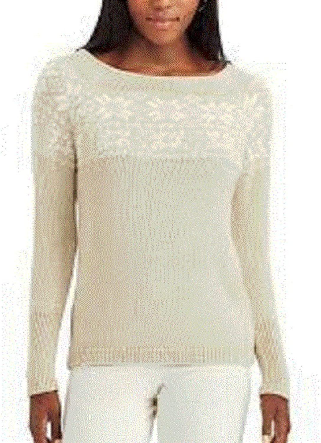 Chaps Pine Lodge gold Ivory Metallic Snowflake Sweater Medium