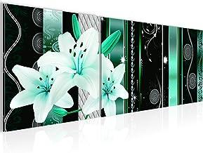 Tabel Lily bloemen wanddecoratie - 90 x 30 cm Canvas Print kamer appartement met uitzicht - klaar te hangen - 008434b