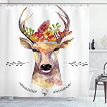 Ambesonne Indie Shower Curtain, Deer Portrait in Watercolor Painting Style Boho Flower Bouquet Hipster Rustic Artwork, Cloth Fabric Bathroom Decor Set with Hooks, 84