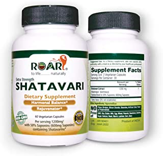 High Potency Shatavari 1200 mg Daily with Std Extract of 50% Saponins (600mg Saponins) for Hormonal Balance and Menstrual ...