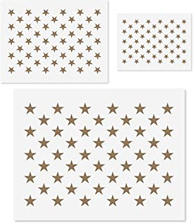 3 Piece 50 Star Stencil for Flag- Mylar Template for American Flag   S, M, L – 10.5 x 14.82, 7 x 10, 5 x 7   US Star Pattern Stencils for Painting Wood & Wall Art   Reusable USA Stencils
