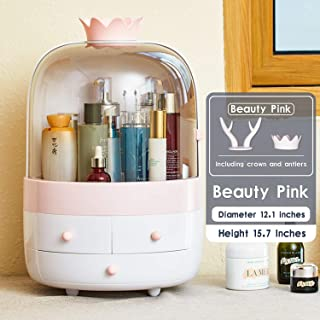 ESOUL TECHNOLOGY Multifunctional Makeup Organizer with Dustproof Jewelry and Cosmetic Storage Skin Care Products Rack Dressing Table Desktop Finishing Box with Drawer on Countertop (White-Pink)