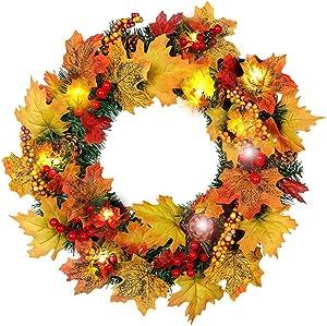 40 CM New Thanksgiving Automne Couronnes De Noël Artificiels Garland Porte, 12 Pouces Couronne De Fleurs Idéal Déco Noël pour Votre Porte, Mur Ou Fenêtre, Cheminée Murale