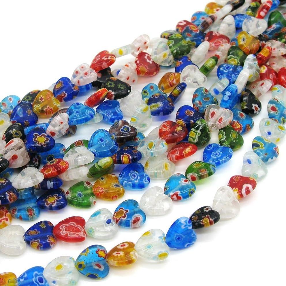 Beading Station 40-Piece Mix Millefiori Lampwork Flat Heart Glass Beads, 10mm