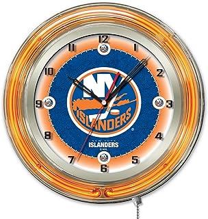 a86285f5b New York Islanders HBS Neon Orange Hockey Battery Powered Wall Clock