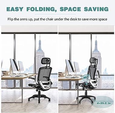 Gabrylly Ergonomic Mesh Office Chair, High Back Desk Chair - Adjustable Headrest with Flip-Up Arms, Tilt Function, Lumbar Sup
