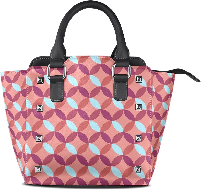 My Little Nest Women's Top Handle Satchel Handbag Geometric Circle Ladies PU Leather Shoulder Bag Crossbody Bag