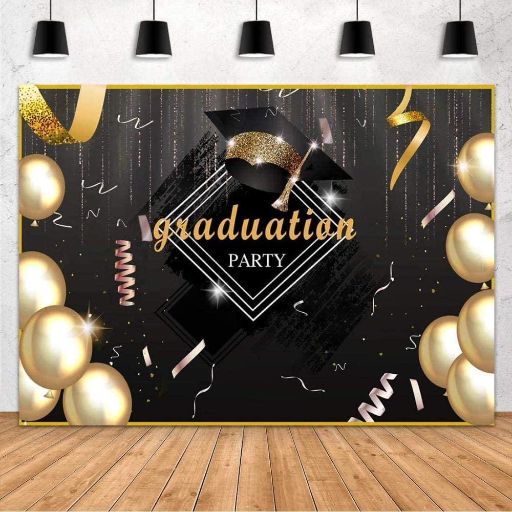 New Class Graduation Party Prom Photography Backdrop 7x5ft 2020 Classy Gold Balloon Ribbon Bachelor Cap Congrats Grad Ceremony Banner Background Photo Studio Props Photobooth Decoration Supplies
