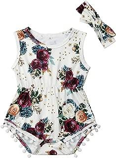 Baby Girls Floral Romper Infant Girls Sleeveless Tassel Bodysuit with Headband Outfits