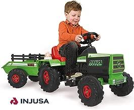INJUSA- Tractor con Remolque para Niños 6 V, Color Verde, 3+ (636)