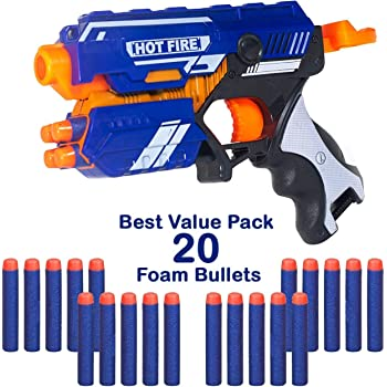 WISHKEY Manual Soft Bullet Shooting Gun Toy with 20 Safe Foam Bullets for Kids (Multicolour)
