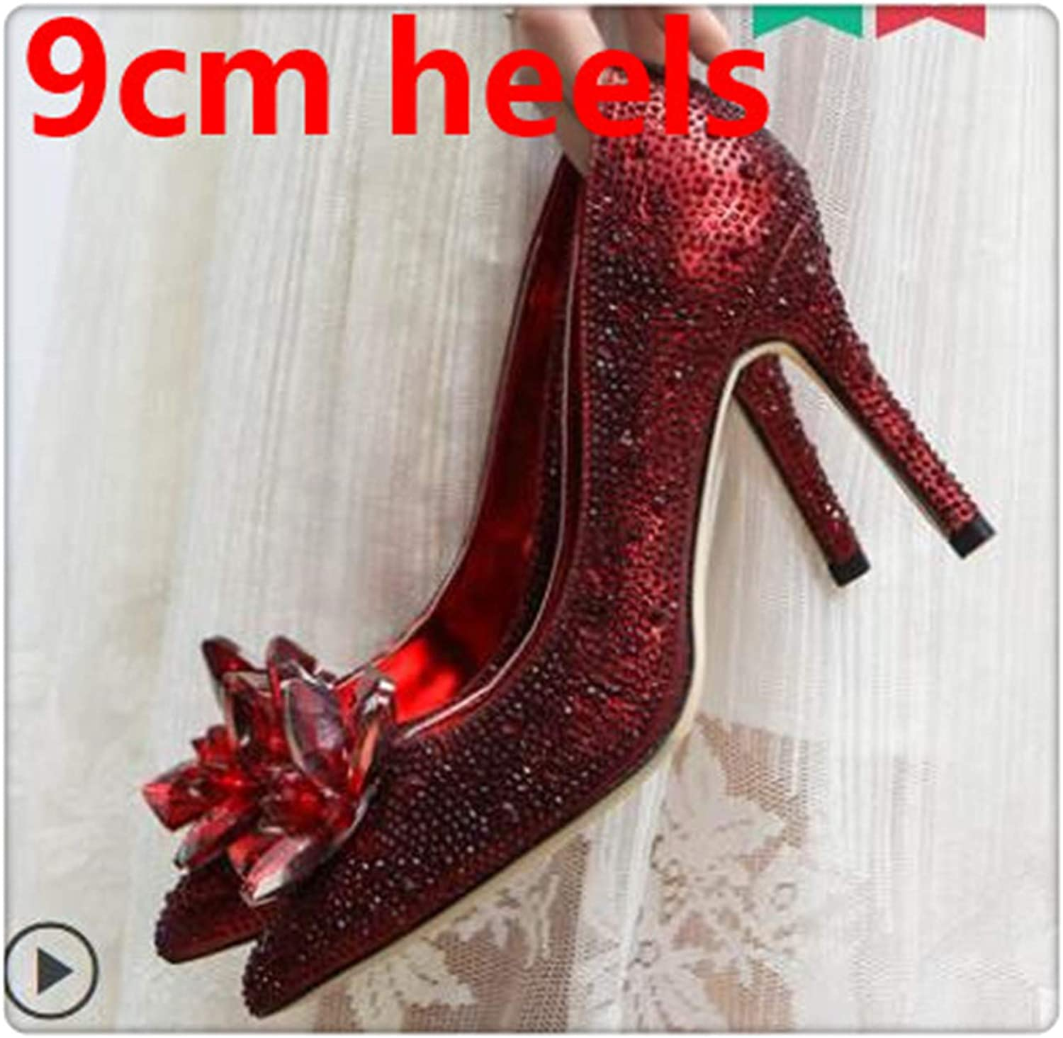 BIONGTY& Rhinestone High Heels Cinderella shoes Pumps Pointed Toe Woman Crystal Party