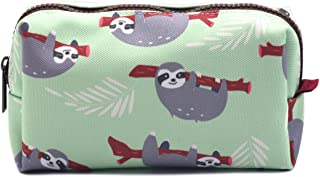 LParkin Sloth Students Super Large Capacity Canvas Pencil Case Pen Bag Pouch Stationary Case Makeup Cosmetic Bag (Green)
