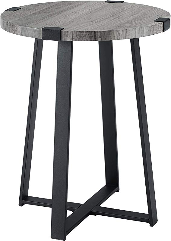 WE Furniture AZF18MWSTSG Industrial Round Metal Wrap Side End Table 18 Slate Grey Top X Base