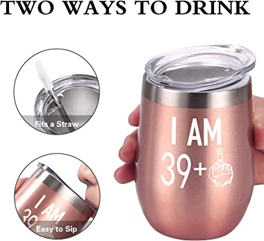 39 Plus One Middle Finger Wine Tumbler, 40th Birthday Gifts for Women Men, Wine Tumbler with Saying Funny Gifts Idea for Wife