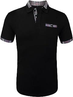 Daupanzees Men`s Classic Casual Short Sleeve Plaid Collar Jersey Polo Shirt