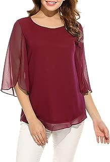 Womens Half Sleeve Layered Flowy Chiffon Blouses Round Neck Top Shirts