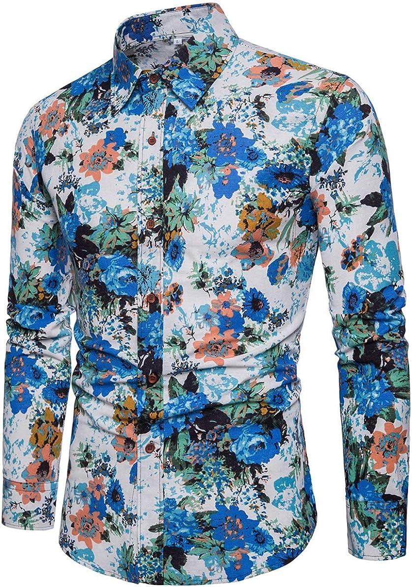 Men's Shirt Fashion Casual Classic Hawaiian Style Personality Print Long Sleeve Simple Joker Shirt Shirt
