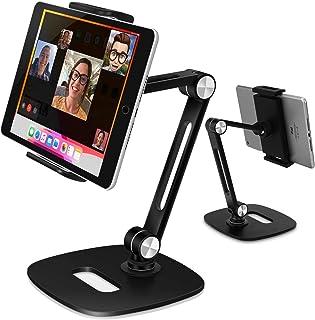 B-Land Adjustable Tablet Stand, Desktop Tablet Holder Mount Foldable Phone Stand with 360° Swivel Phone Clamp Mount Holde...