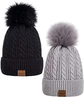Womens Winter Beanie Hat, Warm Fleece Lined Knitted Soft Ski Cuff Cap with Pom Pom