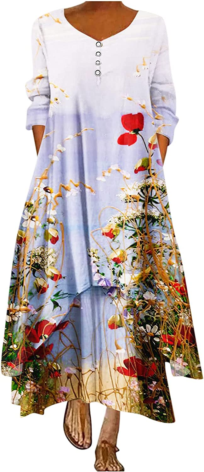 Womens Dresses Casual Maxi Dress Floral Graphic Sundress O Neck Party Ball Gowns Long Sleeve Long Skirt with Pocket
