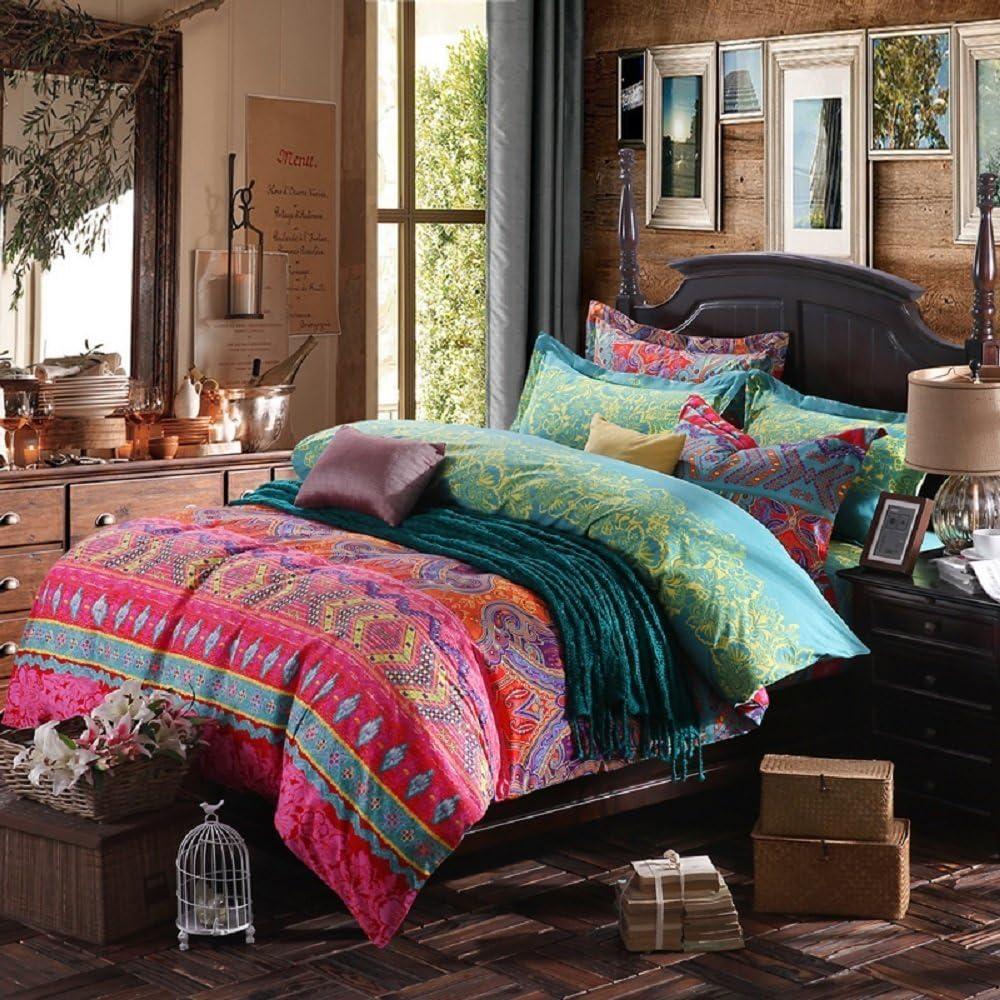 YOUSA 3Pcs Jacksonville Mall Colorful Boho Bedding Set Covers Brush Bohemian New life Duvet