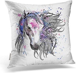 Leisure-Time Funda de Almohada de Tiro Impresión de Cabeza de Animal de Caballo para Fundas de Almohada de decoración de página para Colorear antiestrés