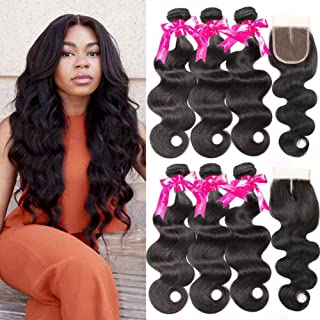 Beauty Princess Body Wave Human Hair 3 Bundles with Closure Double Weft 8A Brazilian Hair Bundles With Closure (22 24 24+20)