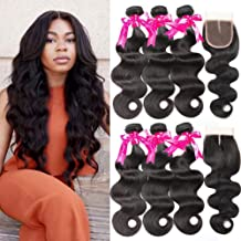 Beauty Princess Body Wave Human Hair 3 Bundles with Closure Double Weft 8A Brazilian Hair Bundles With Closure (24 26 28+20Inch)