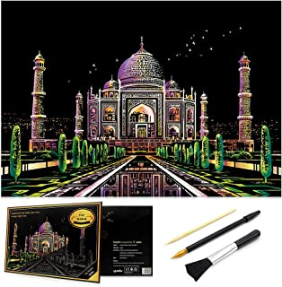 Scratch Art Rainbow Painting Paper, Sketch Pad DIY Night View Scratchboard for Kids & Adults, Engraving Art & Craft Set, Scratch Painting Creative Gift, 16'' x 11.2'' with 3 Tools (Taj Mahal-India)