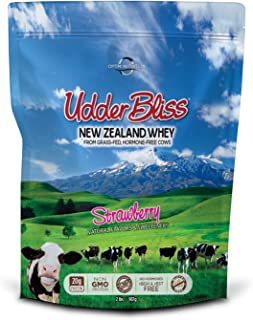 Best Whey Protein Powder, Grass Fed, Hormone-Free, Best Tasting Protein Powder, Udder Bliss Strawberry (2 Pounds)