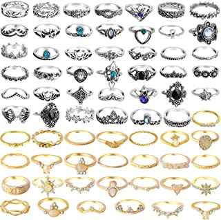ONESING 25-120 Pcs Knuckle Rings for Women Stackable Rings Set Girls Bohemian Retro Vintage Joint Finger Rings Hollow Carved Flowers