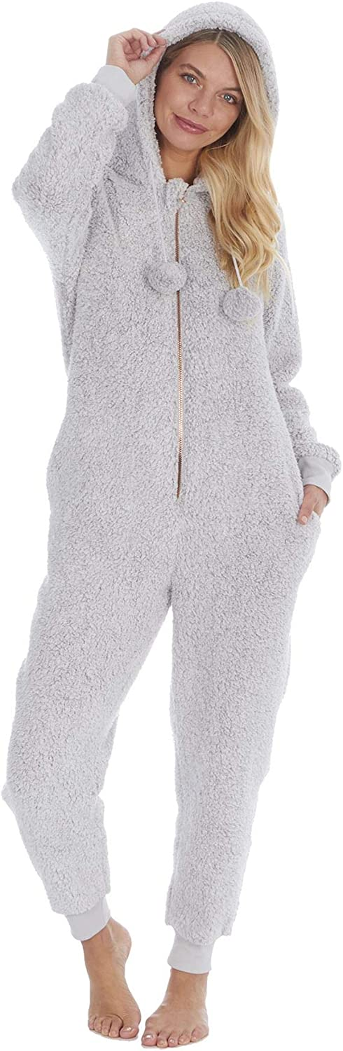 Undercover Ladies Winter Soft Borg Sherpa Fleece Hooded All in One Onesie